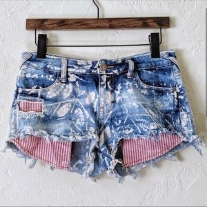 Free People Distressed Paint Splatter Shorts